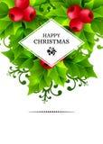 O fundo do Natal com azevinho sae de decorações Imagens de Stock Royalty Free