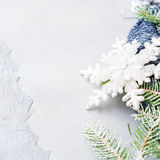 O fundo do Natal do inverno com neve da árvore de abeto ramifica Fotos de Stock