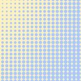 O fundo do pop art, cor azul transforma no amarelo C?rculos, bolas de formas diferentes quadricula??o ilustração stock