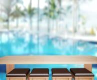 O fundo do tampo da mesa e a associação de madeira 3d rendem Imagem de Stock
