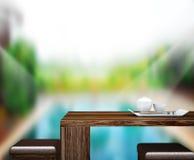 O fundo do tampo da mesa e a associação de madeira 3d rendem Foto de Stock