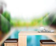 O fundo do tampo da mesa e a associação de madeira 3d rendem Fotografia de Stock