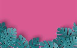 O fundo do verão com papel cortou as folhas tropicais, design floral exótico para a bandeira, inseto, convite, cartaz, site ilustração stock