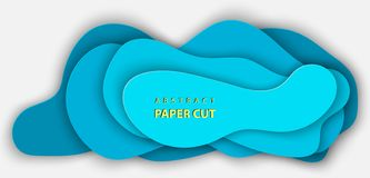 O fundo do vetor com papel azul profundo da cor cortou formas ilustração stock