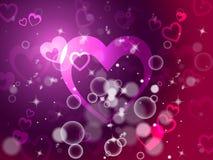 O fundo dos corações mostra o amor e romance da paixão Foto de Stock Royalty Free