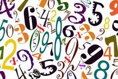 O fundo dos números de tipos diferentes de fontes Fotografia de Stock Royalty Free