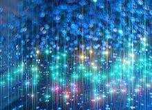 O fundo dos raios de brilho brilhantes no azul foto de stock royalty free