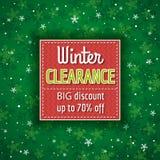 O fundo e a etiqueta verdes do Natal com venda oferecem Imagens de Stock Royalty Free