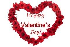 O fundo e a rosa vermelhos da rotulação do dia feliz do ` s do Valentim deram forma a h Fotos de Stock