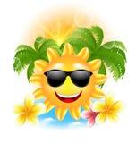 O fundo engraçado com Sun de sorriso feliz, palmas do verão, floresce o Frangipani Imagens de Stock Royalty Free