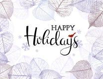 O fundo festivo do inverno com quadro da geada sae ilustração stock