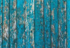 O fundo horizontal das placas verticais idosas é pintado na luz - cor azul Fotografia de Stock Royalty Free