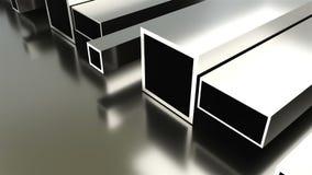 O fundo industrial rolado do metal, 3d rende da placa de metal, deu forma aos tubos com brilho video estoque