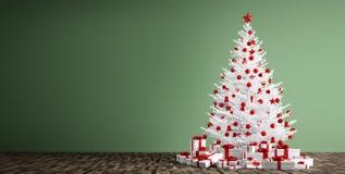 O fundo interior com árvore 3d do White Christmas rende Fotografia de Stock Royalty Free