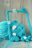 O fundo marinho com laço do algodão faz crochê elementos: estrelas, shell, flores e quadro Imagem de Stock Royalty Free