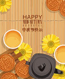 O fundo meados de do vetor de Autumn Lantern Festival com lua chinesa endurece Foto de Stock Royalty Free