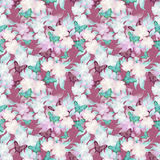 O fundo romântico floral sem emenda do teste padrão da mola floresce o ornam Imagens de Stock