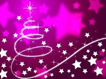 O fundo roxo da árvore de Natal significa a época natalícia e as estrelas Fotografia de Stock Royalty Free