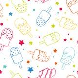 O fundo sem emenda colorido de néon do teste padrão do gelado do picolé do divertimento, o feliz e o fresco da repetição com estr ilustração royalty free
