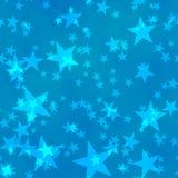 O fundo shinning sem emenda de Bokeh cinco-aguçado protagoniza nos tamanhos diferentes dispersados irregularmente no fundo azul ilustração stock