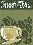 O fundo, teste padrão estilizou as folhas de chá Fotografia de Stock Royalty Free