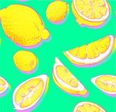 O fundo verde com limão corta o teste padrão ilustração do vetor