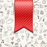 o fundo vermelho do bookmarkon com garatuja objeta, ilustração do vetor Imagens de Stock Royalty Free