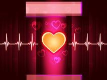 O fundo vermelho do coração mostra a batida e a coluna da vida Imagens de Stock Royalty Free