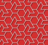 O fundo vermelho e branco geométrico com esboço expulsa efeito Imagens de Stock