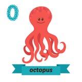 章鱼 O信件 逗人喜爱的在传染媒介的儿童动物字母表 Funn 免版税库存图片