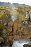 O furo do sopro das rochas de Punakaiki entra em erupção, Nova Zelândia Fotografia de Stock Royalty Free