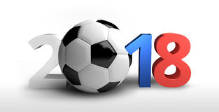 O futebol 3d colorido Rússia 2018 rende o futebol corajoso das letras Fotografia de Stock