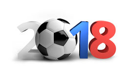 O futebol 3d colorido Rússia 2018 rende o futebol corajoso das letras Fotografia de Stock Royalty Free