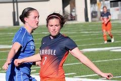 O futebol das mulheres do NCAA DIV III da faculdade Fotografia de Stock