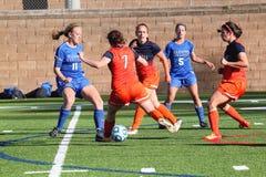 O futebol das mulheres do NCAA DIV III da faculdade Fotos de Stock