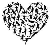 O futebol do futebol mostra em silhueta o coração Imagem de Stock
