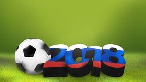 o futebol footbal da bola 2018 em Rússia 3D colorido bandeira rende Fotos de Stock
