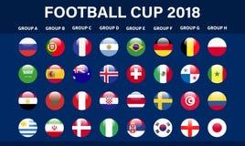 O futebol 2018, qualificação de Europa, todos os grupos Vector a ilustração ilustração do vetor