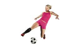 O futebol retrocede dentro o meio do ar Foto de Stock