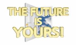 O futuro é o vosso destrava amanhã a possibilidade 3d Illus do sucesso ilustração do vetor