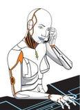 O futuro da secretária a mulher o robô Foto de Stock