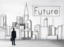 O futuro imagina o conceito da arquitetura da cidade da previsão do desenvolvimento imagem de stock