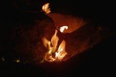 O gás natural arde em Andreia?u de Jos, Romênia Fotografia de Stock