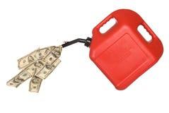 O gás podem e o derramamento do dinheiro Fotografia de Stock