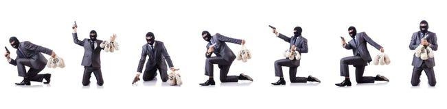 O gângster com os sacos do dinheiro no branco Imagens de Stock Royalty Free