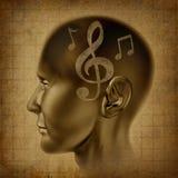 O gênio musical da mente do cérebro da música anota o compositor fotografia de stock