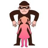 O g?ngster do homem sequestra a crian?a car?ter ilustração do vetor