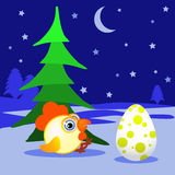 O galo, galinha, galo novo que um símbolo do abeto do ano novo 2017pod na neve com ovo se senta Um emblema no chinês Imagens de Stock
