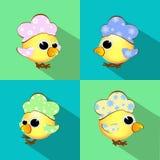 O galo, galo novo, galinha quatro partes com multi-coloriu um ano novo do símbolo 2017 do logotipo da crista, Natal do azul no se Imagens de Stock Royalty Free