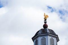 O galo superior da galinha do telhado da aleta de tempo pintou o ouro com o céu azul nebuloso fotografia de stock royalty free